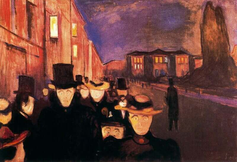 Evening on Karl Johan Street, 1892 by Edvard Munch
