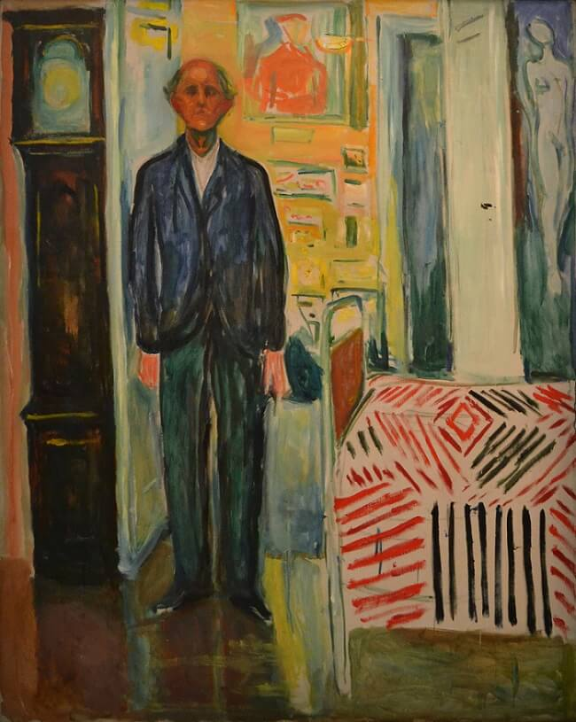 Self-Portrait Between the Clock and the Bed, 1940 by Edvard Munch