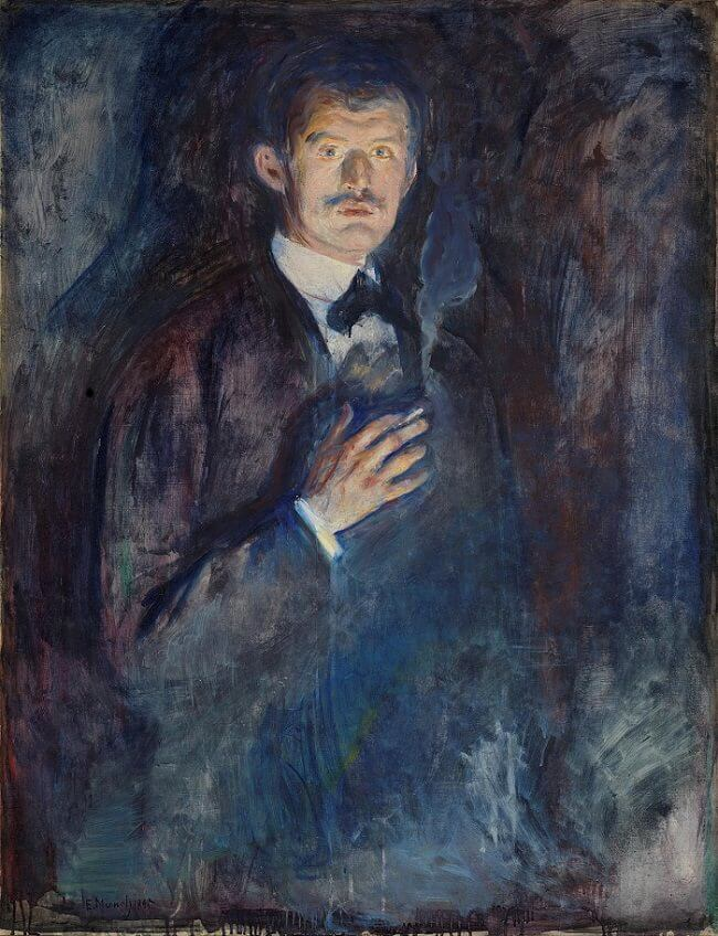 Self-Portrait with Cigarette, 1895 by Edvard Munch