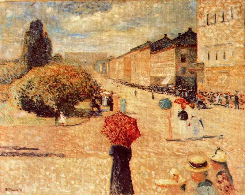Spring Day on Karl Johan Street, 1891 by Edvard Munch